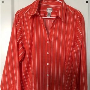 Chico's Red Stripe Button Front a Shirt